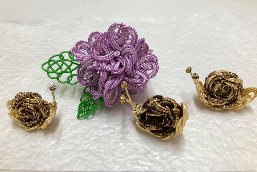 水引で作るカタツムリと紫陽花
