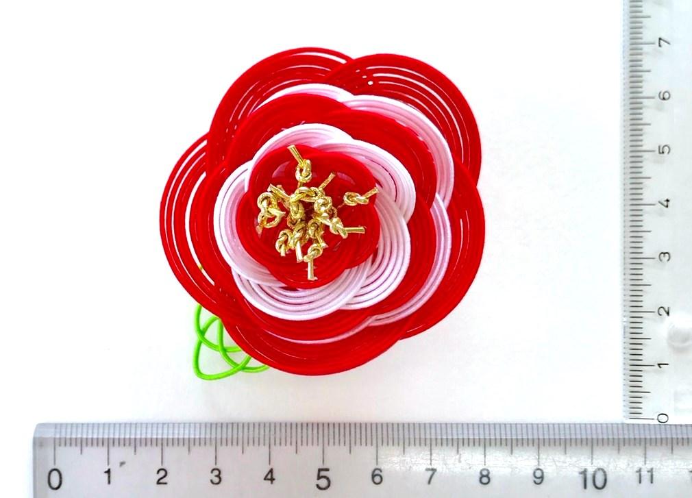 水引5本梅結び5段重ねの胸花