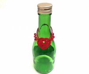 水引あわじ結びで作る瓶飾り、ボトル飾り