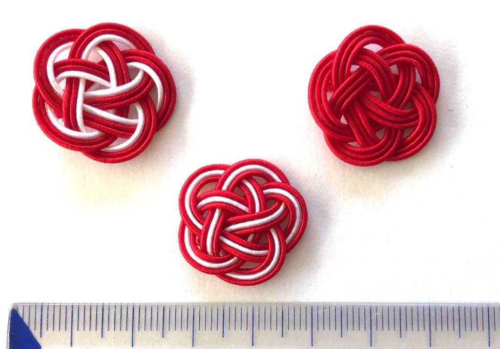 赤赤白の水引3本梅結び