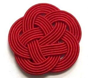 赤一色の水引5本梅結び 直径約33mm