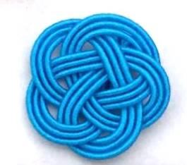 ブルーの水引3本梅結び 直径23mm