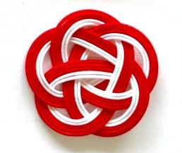 水引5本梅結び 直径40mm 赤赤赤白白