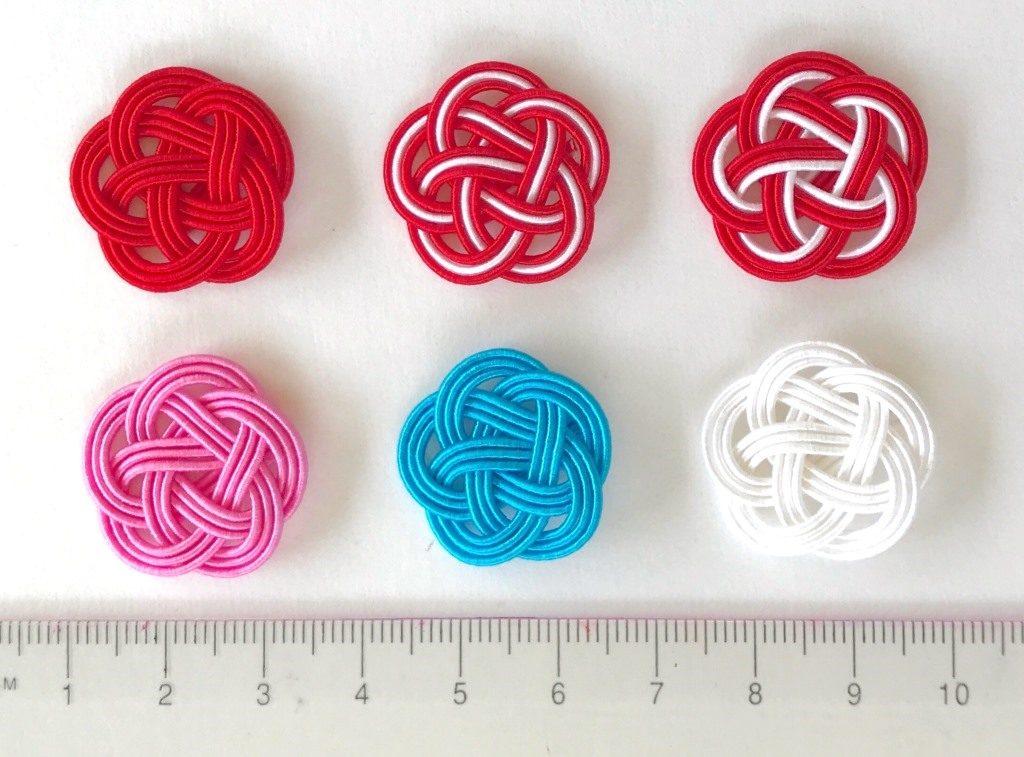 水引3本梅結び 直径23mm 赤、赤白赤、赤赤白、ピンク、ブルー、白
