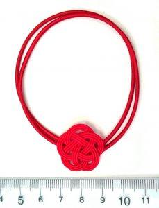 水引3本赤梅飾り結び ゴムの円周20cm2つ輪