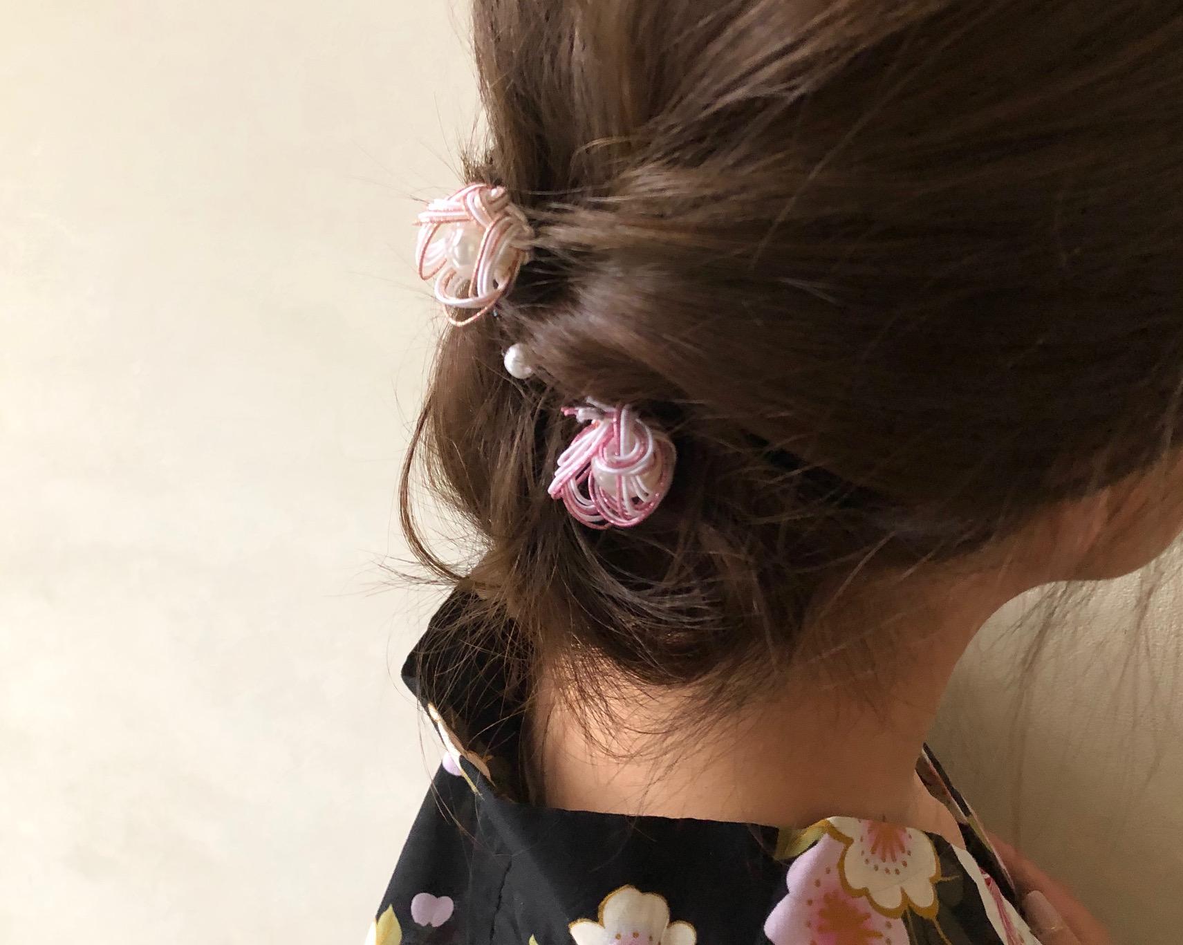立体梅結びのヘアアクセサリー