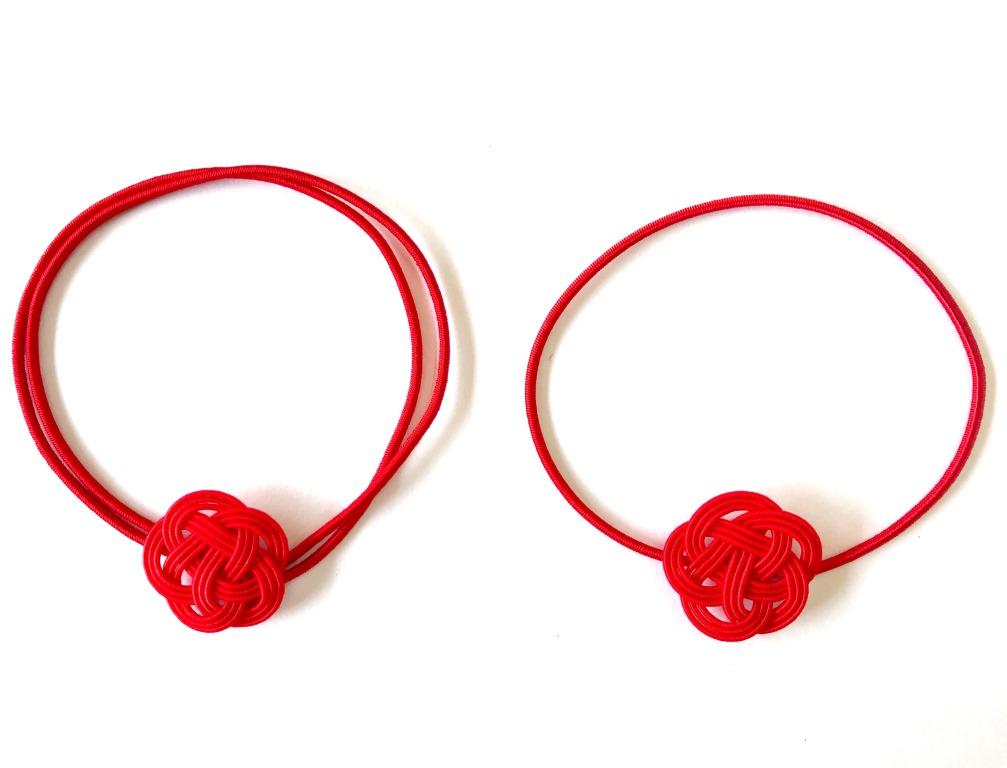 水引梅結びのゴムの2つ輪と1つ輪