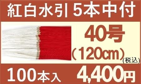 紅白水引5本中付 紐松竹梅バナー 40号