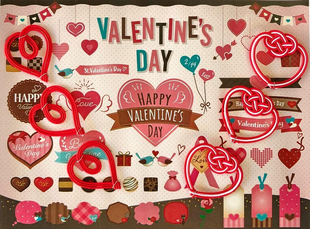 水引ハート型を置いたバレンタインデーのイメージ画像